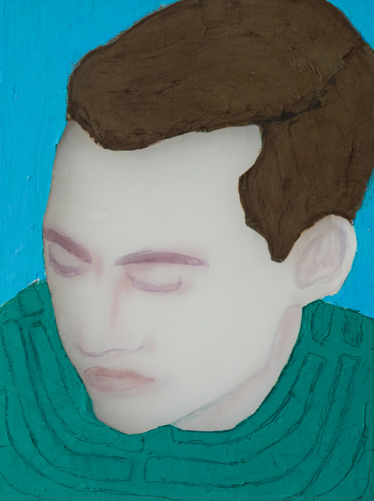 Young Man (green shirt), 2018, 40 x 30 cm